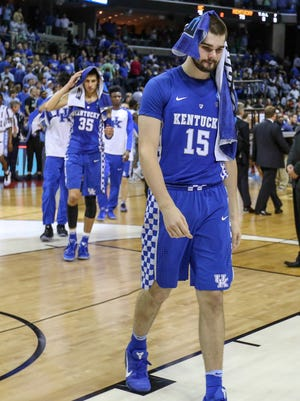 Isaac Humphries leaves the court after Kentucky falls to UNC in Memphis in the Elite Eight.March 26, 2017