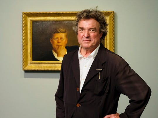 "Jamie Wyeth with his painting ""Portrait of John F. Kennedy"" in the Lois and Michael Torf Gallery at the Museum of Fine Arts, Boston."