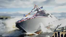 The USS Detroit is christened Oct. 18 at the Marinette Marine Corp. shipyard in Marinette, Wisconsin, on the Menominee River.