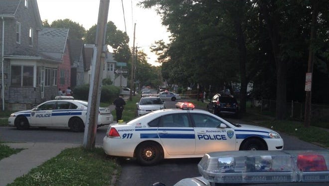 Rochester police respond to the shooting Thursday night.