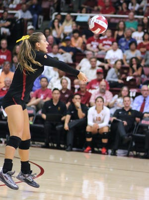 Victoria Garrick on the court at the Stanford v. USC volleyball game in 2015 during the PAC-12 conference play.