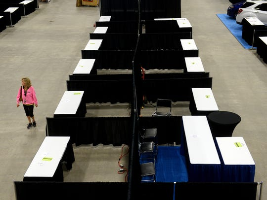 Empty booths await vendors on Thursday ahead of the