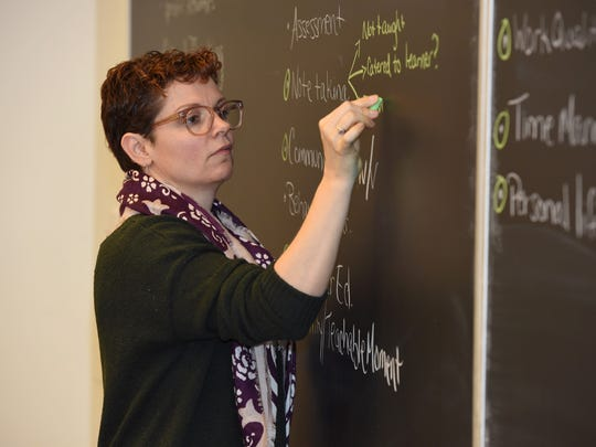 Tara Grieb, principal at Stissing Mountain High School, participates in a professional development program at Bard College.
