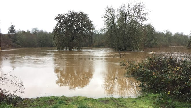 High water near Old Fort Road in Polk County on Tuesday, Dec. 12.