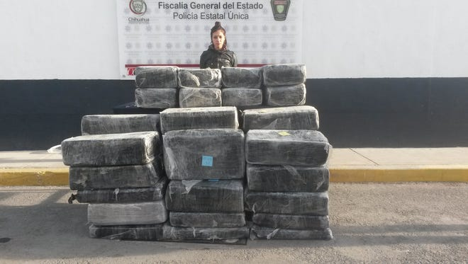 Alejandra Michelle Carlos Mercado was arrested when more than 750 pound of marijuana was seized Wednesday in Juárez.