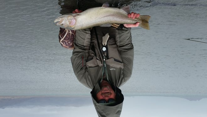 Chris Evison caught this 11-pound cutthroat at Pyramid Lake last week.