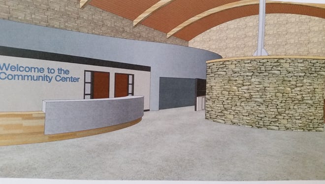An artist's conception of the entryway to a repurposed Door County highway shop building.