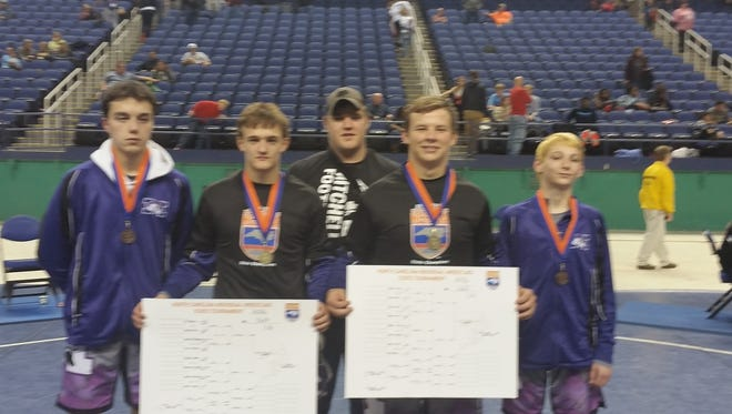 Mitchell's five state qualifiers for the NCHSAA 1-A wrestling tournament.