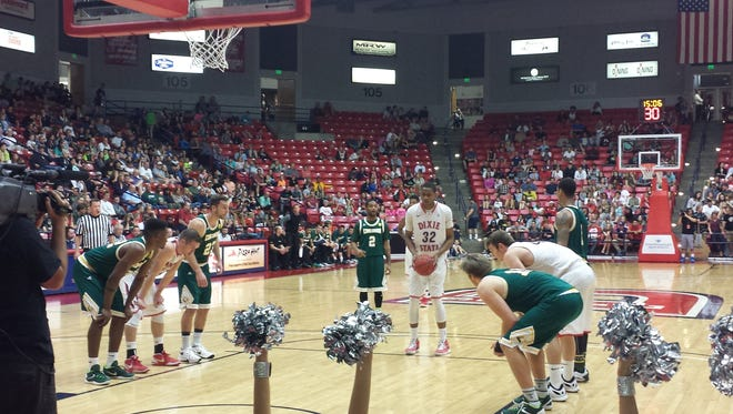 Mark Ogden attempts a free throw in the second half Saturday night in the Burns Arena. Dixie State beat PacWest leader Concordia 82-67.