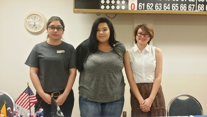 Ariel Cochran, Jade Ellison and Andrea Wilmott, all students at Academy Del Sol, were winners in the Voices of Democracy essay contest.
