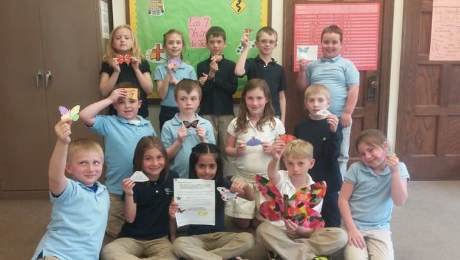 St. Francis of Assisi students, back row, from left: Hope Recore, Mallory Krajnek, Ben Wall, Max Mueller and Aiden Strathmann; middle row, from left: Hunter Schnur, Landon Price, Julia Tuma and Gabe Wallander; and front row, from left: Hayden Dewane, Gabby Lara, Carol Rodriquez, Aiden Jergensen and Aireana Raffaelli. Their homeroom teacher is Mary Beth Blahnik.