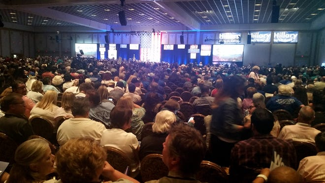 Thousands of people gather at the Paris casino in Las Vegas for the Nevada State Democratic Convention on Saturday.