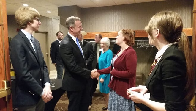 Martin O'Malley, former governor of Maryland and former presidential candidate for the Democratic Party in the 2016 presidential election, greets Lydia Simmons, an intern with the South Dakota Democratic Party, Friday, June 24 at the South Dakota Democratic Convention.