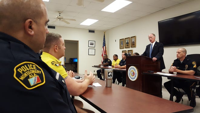 Gov. Robert Bentley address Montgomery police officers at Wednesday morning's roll call.