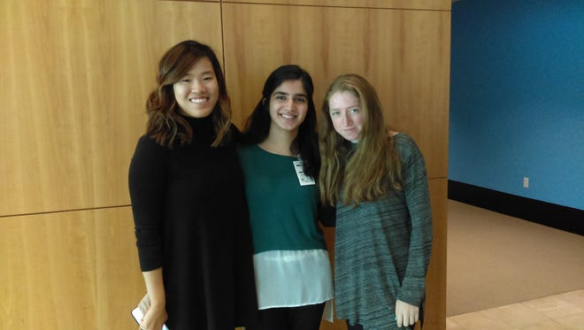 From left: Katherine Lee, Wabil Asjad and Shulamit Dashevsky. Lee is an undergraduate TA for the Girls Who Code Summer Immersion Program, and Asjad and Dashevsky are students in the program.
