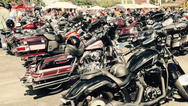 Scores of motorcycles are parked and on display at Arthur W. Perdue Stadium during Delmarva Bike Week.