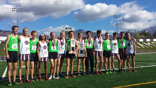 Pine View and Desert Hills pose for a picture after taking the top two spots during the 3A state cross country meet at Sugar House Park on Wednesday.
