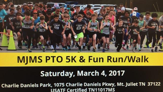 Mt. Juliet Middle School's Parent Teacher Organization is accepting registration for a benefit 5K fun run and walk.