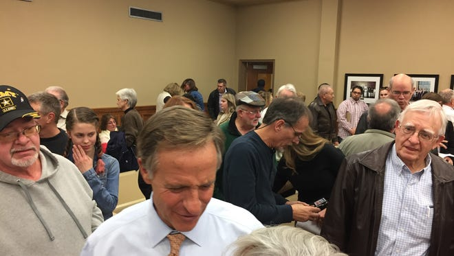 Gov. Bill Haslam fielded questions about his IMPROVE Act legislation at the Wilson County Courthouse for a town hall meeting on Feb. 9, 2017.