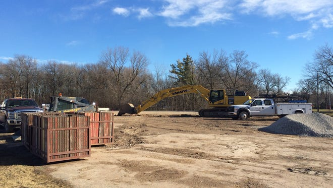 Construction equipment is on-site at the corner of Lawe Street and State 55 in Kaukauna.
