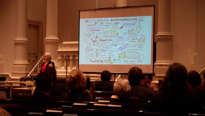 Fair Districts PA Chair Carol Kuniholm speaks to a crowd of around 200 people at the Market Square Presbyterian Church in Harrisburg about the impacts of gerrymandering. Monday, Feb. 27 (Photo: Jason Addy)