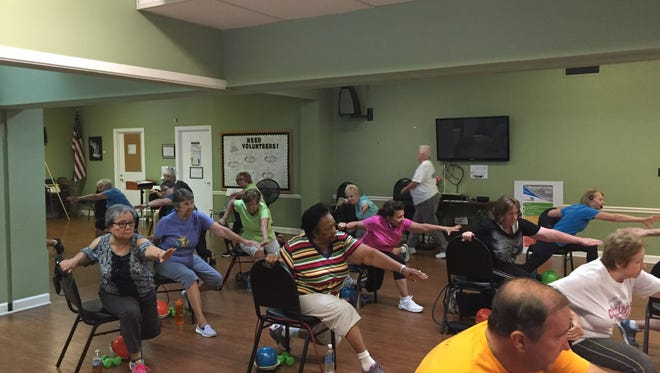 Members go through an exercise class at the Mt. Juliet Senior Activity Center on July 20, 2017. The center is conducting a capital campaign for a a larger building.
