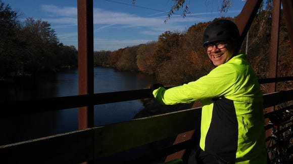 Me, on a cool but shaky bridge crossing the Milwaukee River on the Ozaukee Interurban Trail.