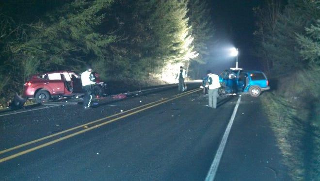 Three vehicles were involved in the Thursday night crash on McKay Road NE.