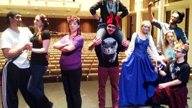 """Performing in """"Once Upon a Mattress"""" are, from left, Richard Huerta as Sir Harry, Erika Cox as Lady Larken, Jo Legget as Queen Aggravain, Kameron Runyon as Princess Winifred, Angel Valentine as the Jester, Lillith Harsh as the 12th Princess, Atty Rudd as Lady Beatrice, Jasper Lane as Prince Dauntless, Jed Rudd as Sir Dudley."""