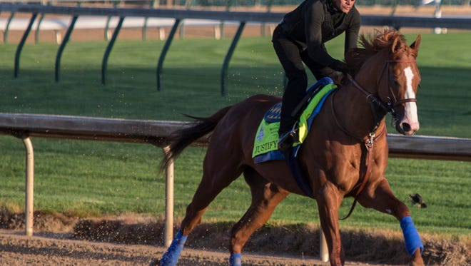 Bob Baffert trained Justify took to the track at Churchill Downs for the first time prior to the Kentucky Derby. Justify is the favorite in the race.  May 1, 2018.
