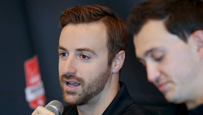 """James Hinchcliffe, seen here earlier this year, said his condition improves """"almost daily."""""""