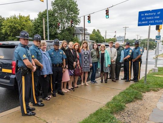 Delaware State Police officer road sign dedication