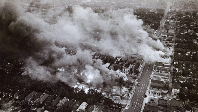 Pingree Street in Detroit burns during rioting in 1967.