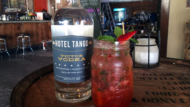 The Rosales cocktail at Hotel Tango Whiskey uses Victor Vodka with muddles strawberries, mint, lemon, and simple syrup.