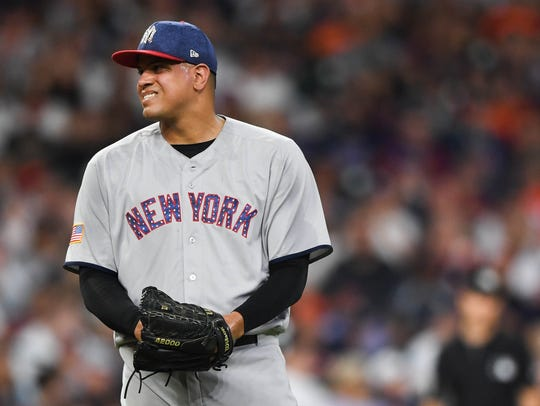 New York Yankees relief pitcher Dellin Betances (68)