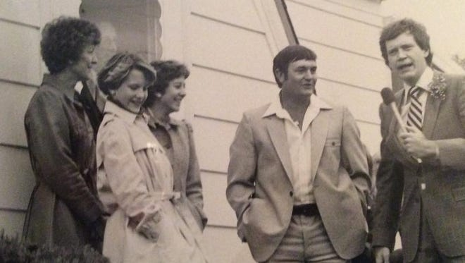 """The Goldsworthys with David Letterman (right) on an episode of """"The David Letterman Show"""" that was filmed in their living room in Cresco, Ia."""