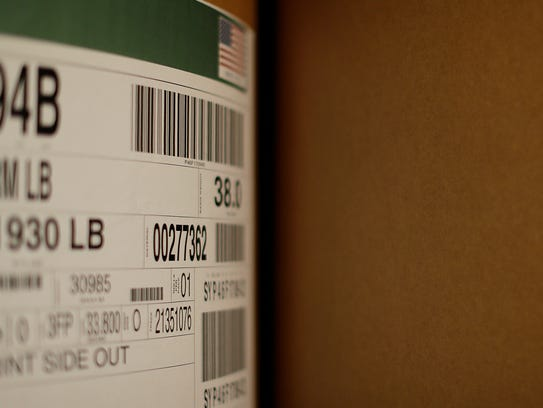A shipment product contains license plates (bar codes)