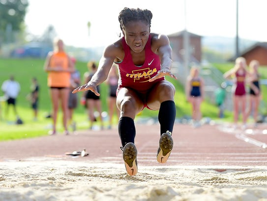Ijeykowoicho Onah of Ithaca competes in the long jump during STAC Track and Field Championships on May 17 in Vestal.