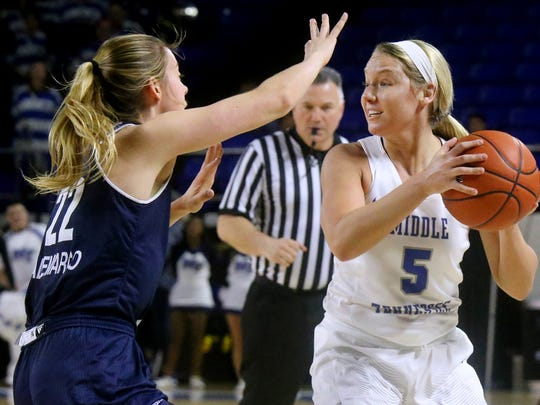 MTSU's Abbey Sissom (5) finished the season strong from beyond the arc.