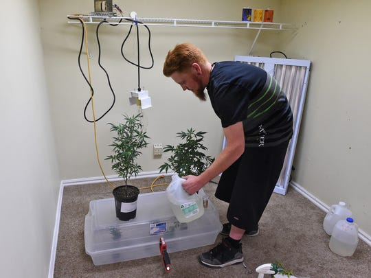 Steve Eaves waters the plants he and his roommate, Marcus Conner,  have growing in their home in Elko, Nevada on May 20, 2017. Eaves and Conner are both recreational marijuana users.