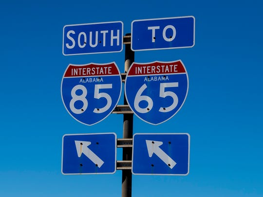 Signs leading to the interchange of Interstate 65 and Interstate 85 in Montgomery, Ala. on Thursday October 26, 2017.