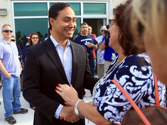U.S. Rep. Joaquin Castro meets with supporters during a meet-and-greet Monday, April 17, 2017, at the Corpus Christi Regional Transportation Authority in Corpus Christi. Castro talked about a possible run against U.S. Sen. Ted Cruz in 2018.
