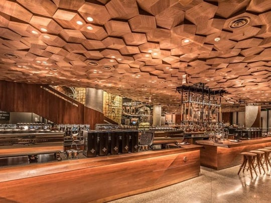 The world's biggest Starbucks, in Shanghai, includes three coffee bars.