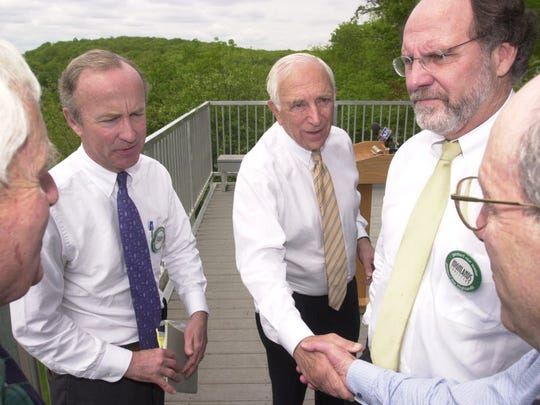 Frelinghuysen has often stood with Democrats on environmental issues including former Senators Frank Lautenberg and Jon Corzine here supporting legislation to save the Highlands in 2003.