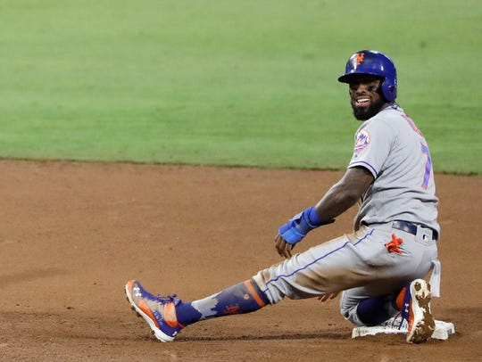 Jose Reyes after stealing his 500th base of his career.
