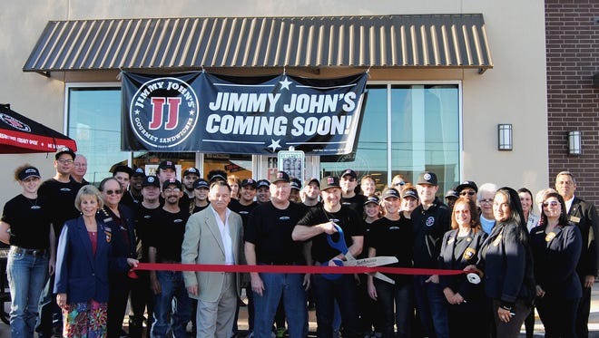 Members of the Concho Cadre, the San Angelo Chamber of Commerce Board of Directors, San Angelo City Councilman Harry Thomas, and employees joined together for a ribbon cutting for Jimmy John's, 5770 Sherwood Way, on Jan. 29. Sam and Merissa Nixon, spouses and managers, came to San Angelo from Nebraska on an employee's recommendation after he came to Angelo State University on a baseball scholarship.