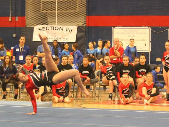 Amanda Grigas performs her floor exercise routine during last year's state championships.