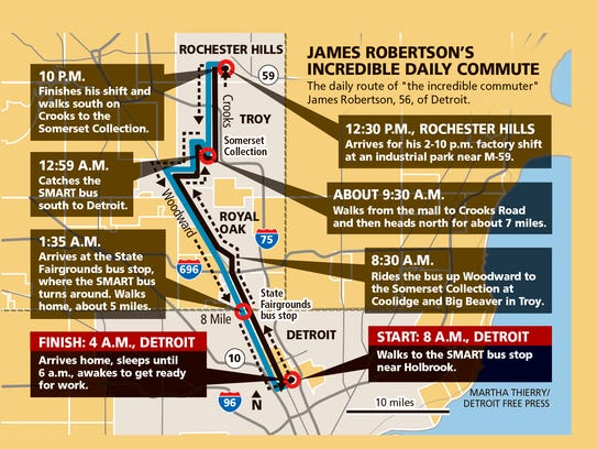 "The daily route of ""the incredible commuter"" James"