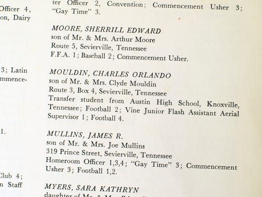 Charles Moulden's student information in the 1964 Sevier County High School yearbook. His family name is misspelled.