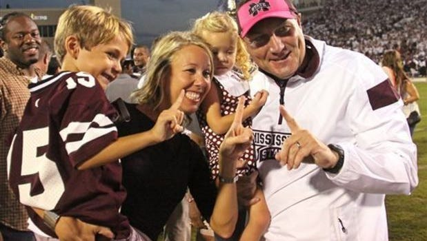 Former Mississippi State coach Dan Mullen and his family.